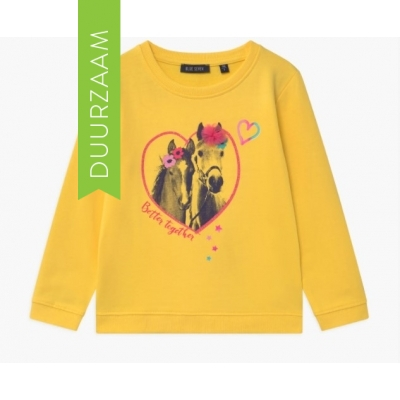 Blue Seven sweater paarden geel