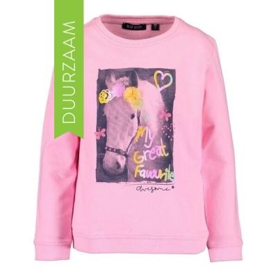 Blue Seven sweater paarden roze