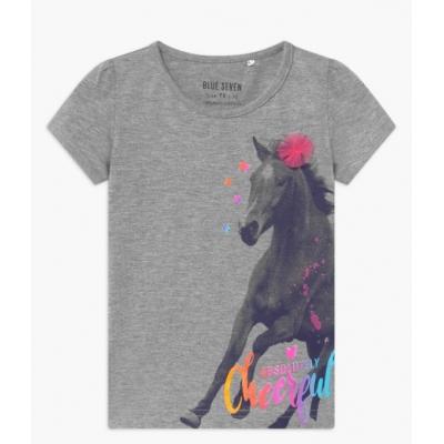 Blue Seven t-shirt paarden grijs