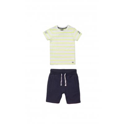DJ Dutchjeans SET short navy & t-shirt white neon yellow