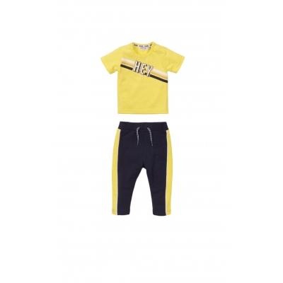 Dirkje SET joggingbroekje navy/geel & t-shirt Hey