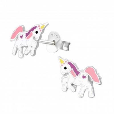 Zilveren oorbellen unicorn