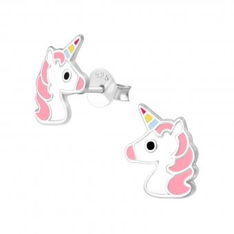 Zilveren oorbellen unicorn hoofd