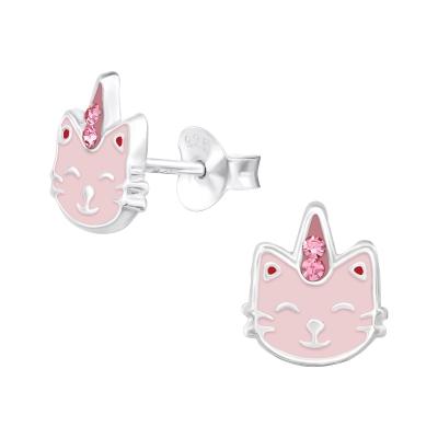 Zilveren oorbellen unicorn kat