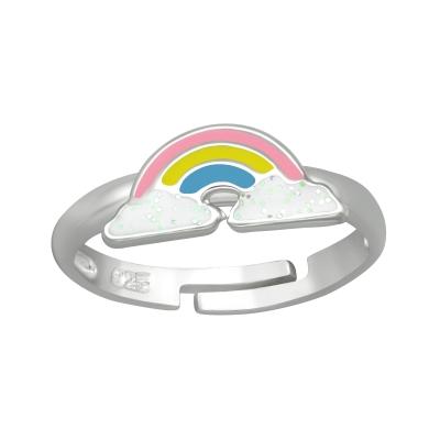 Zilveren ring regenboog
